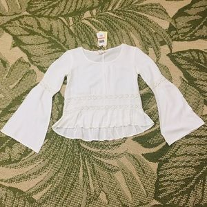 Band of Gypsies Flowy White Hi Low LS Top Blouse